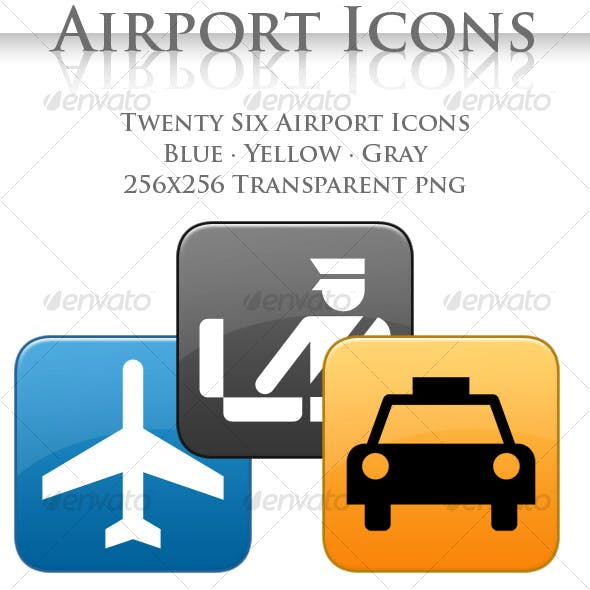 A collection of 26 Airport Icons