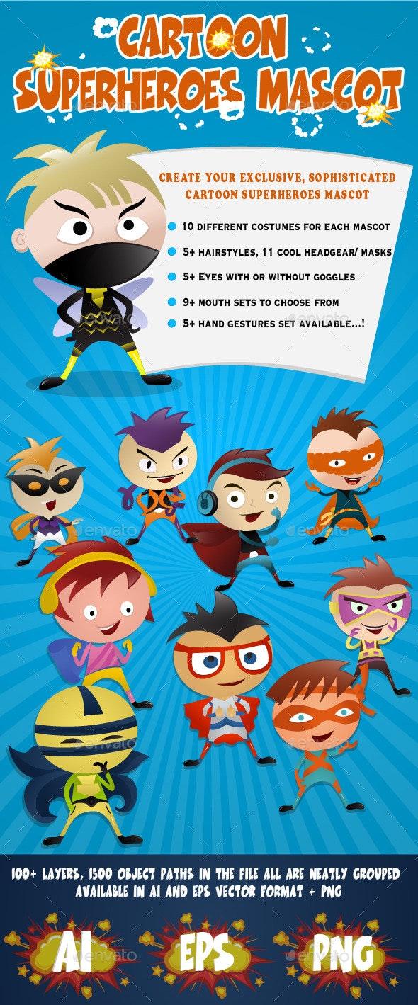 Cartoon Superheroes Mascot - Characters Vectors