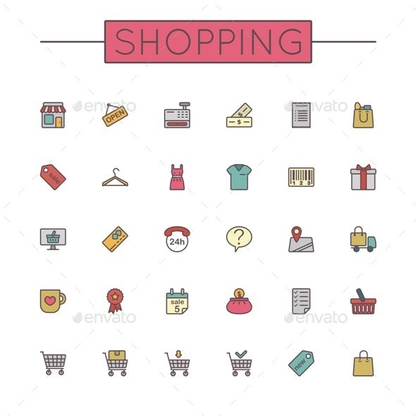 Vector Colored Shopping Line Icons - Commercial / Shopping Conceptual