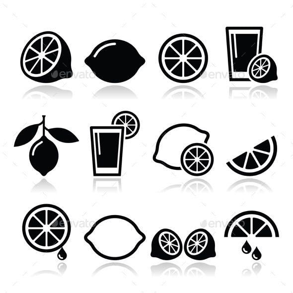 Lemon or Lime Icons Set