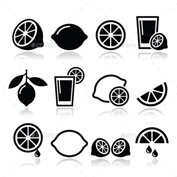 Lemon or Lime Icons Set - Food Objects