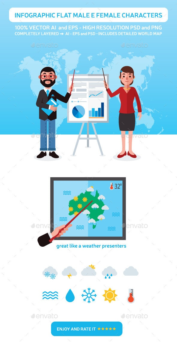 Infographic Flat Male and Female Characters - Miscellaneous Vectors