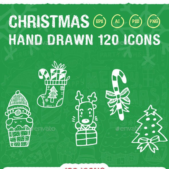 120 Hand Drawn Christmas Icons by iconsoul
