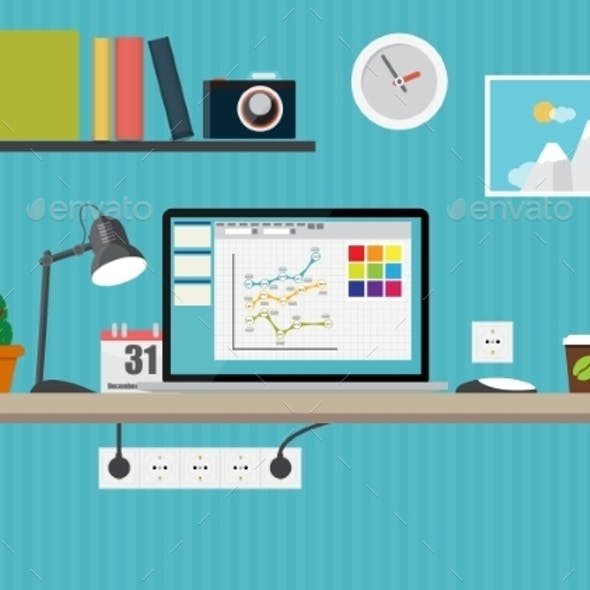 Working Place Modern Office Interior Flat Design