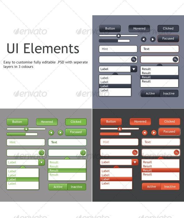 Clean UI Elements set, 3 colours - Web Elements