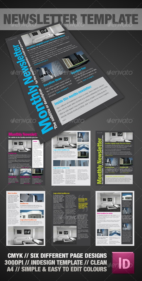 Clear A4 Newsletter - InDesign - Newsletters Print Templates