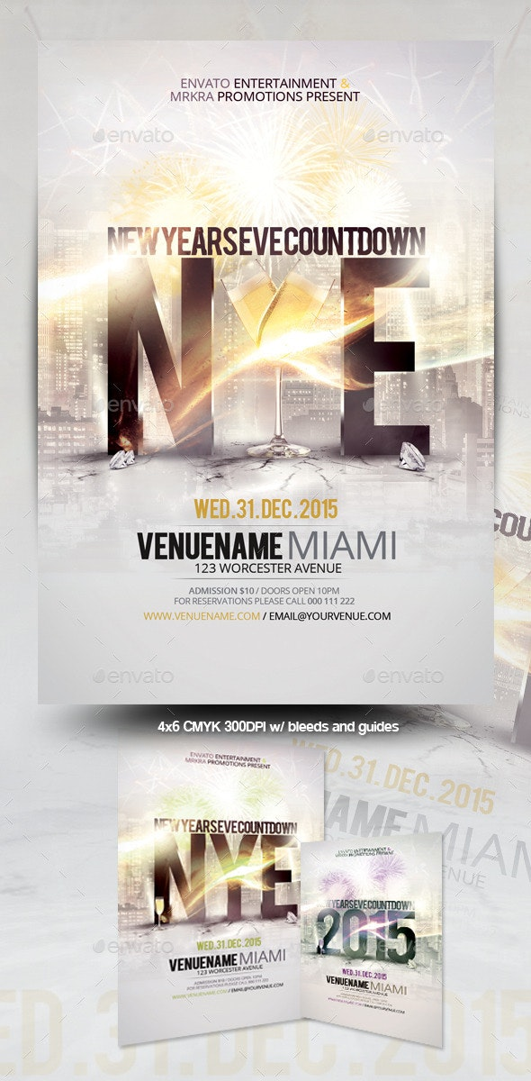 NYE New Years Eve 2015 Flyer Template - Events Flyers