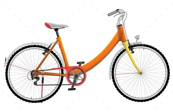 Ladies Orange Urban Sports Bike - Sports/Activity Conceptual