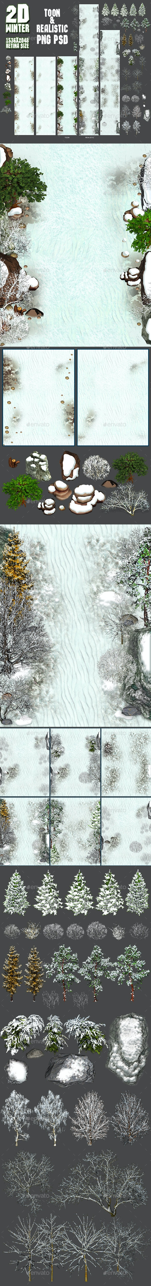 2D Toon and Realistic Winter Game Backgrounds - Tilesets Game Assets