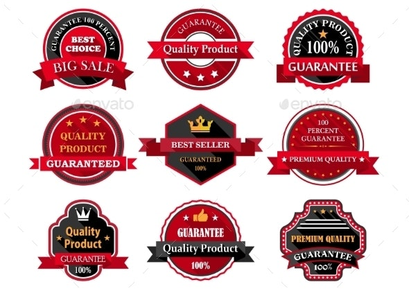 Flat Quality Product Guarantee Badges or Labels - Retail Commercial / Shopping