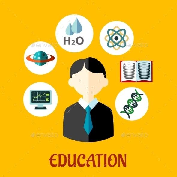 Education Flat Infographics Template - Conceptual Vectors