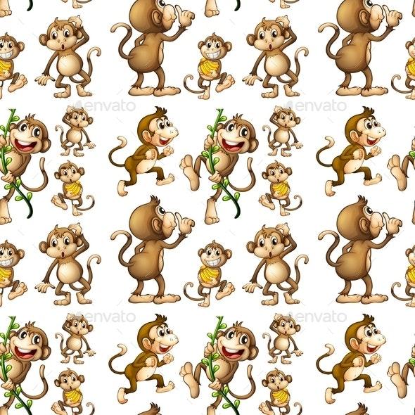 Seamless Monkey - Animals Characters
