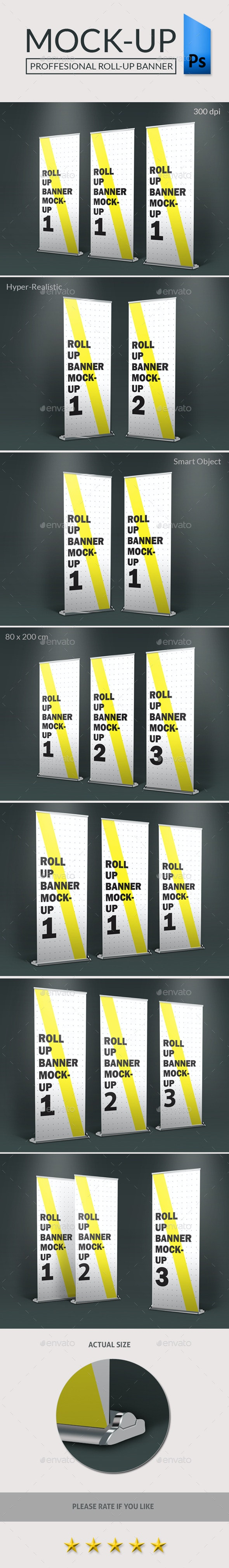Roll-Up Standing Banner Photorealistic-Mockup - Signage Print