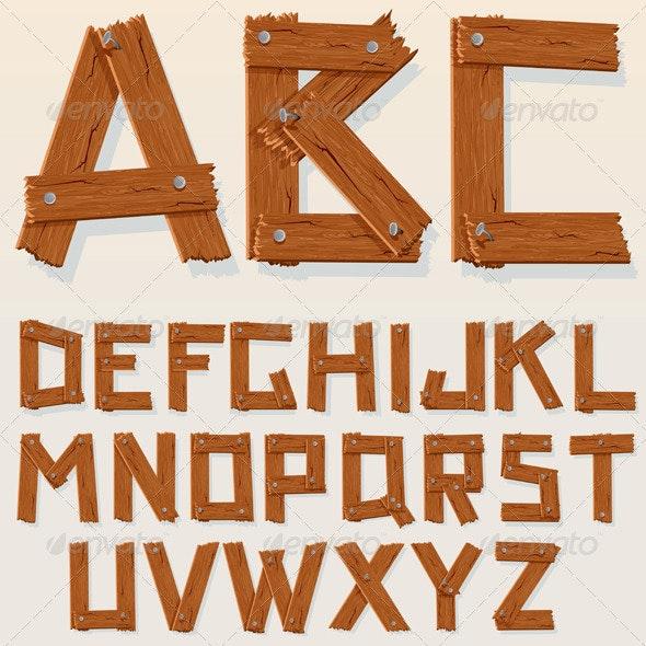 Vector Wooden Alphabet - Characters Vectors