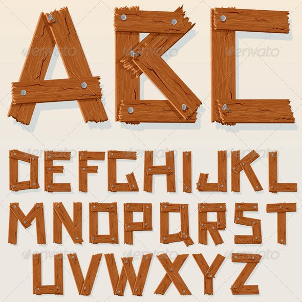 Vector Wooden Alphabet