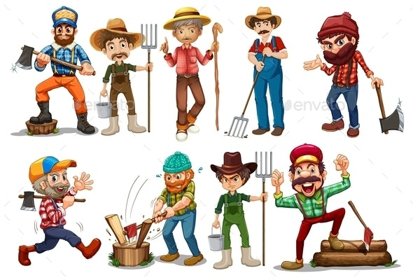 Farmers and Lumberjacks - People Characters