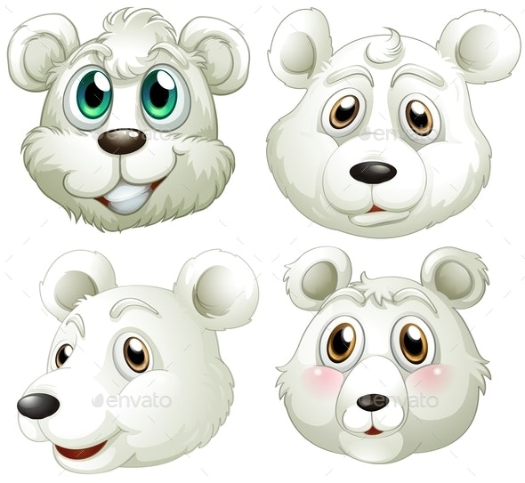 Heads of Polar Bears - Animals Characters