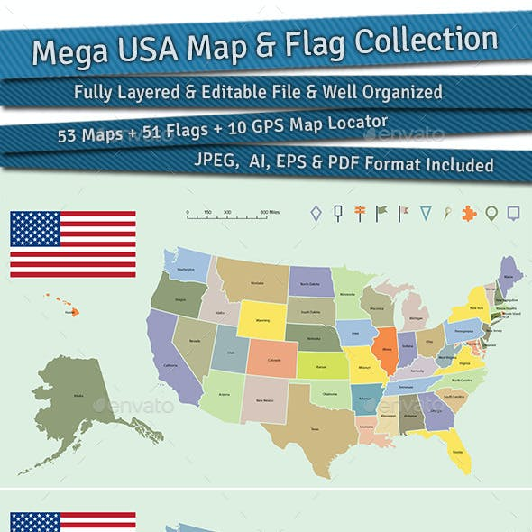 Mega USA Map and Flag Collection