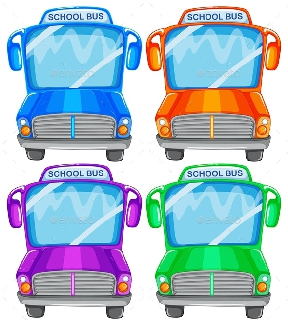 School Buses - Man-made Objects Objects