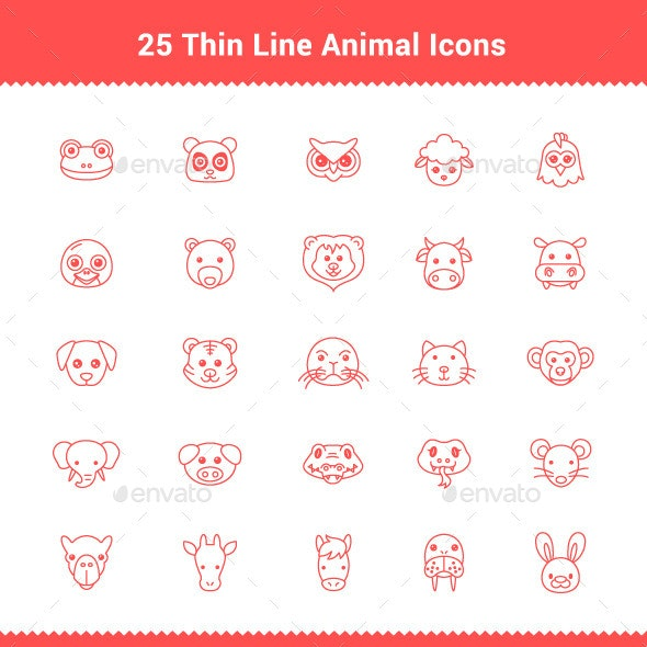 25 Thin Line Stroke Animal Icons