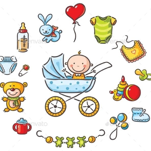 Baby in a Baby-Carriage with Baby Things