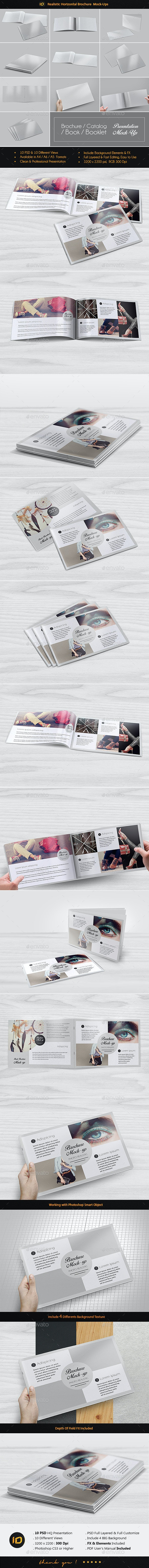 Realistic Horizontal Brochure Mock-Up - Print Product Mock-Ups