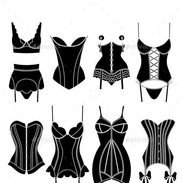 Set of Vintage Lingerie Elements