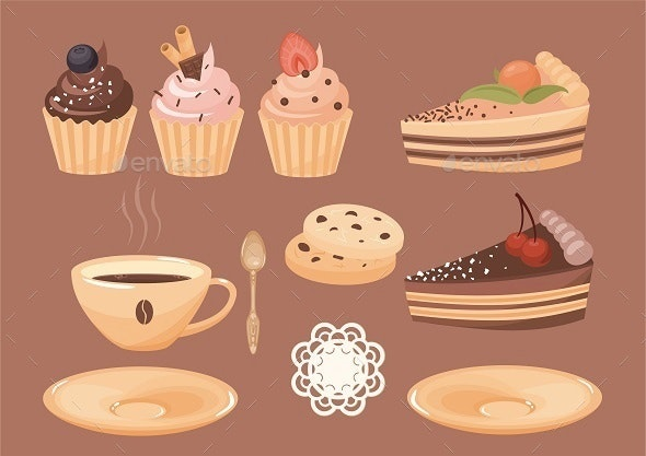 Coffee and Cakes - Food Objects