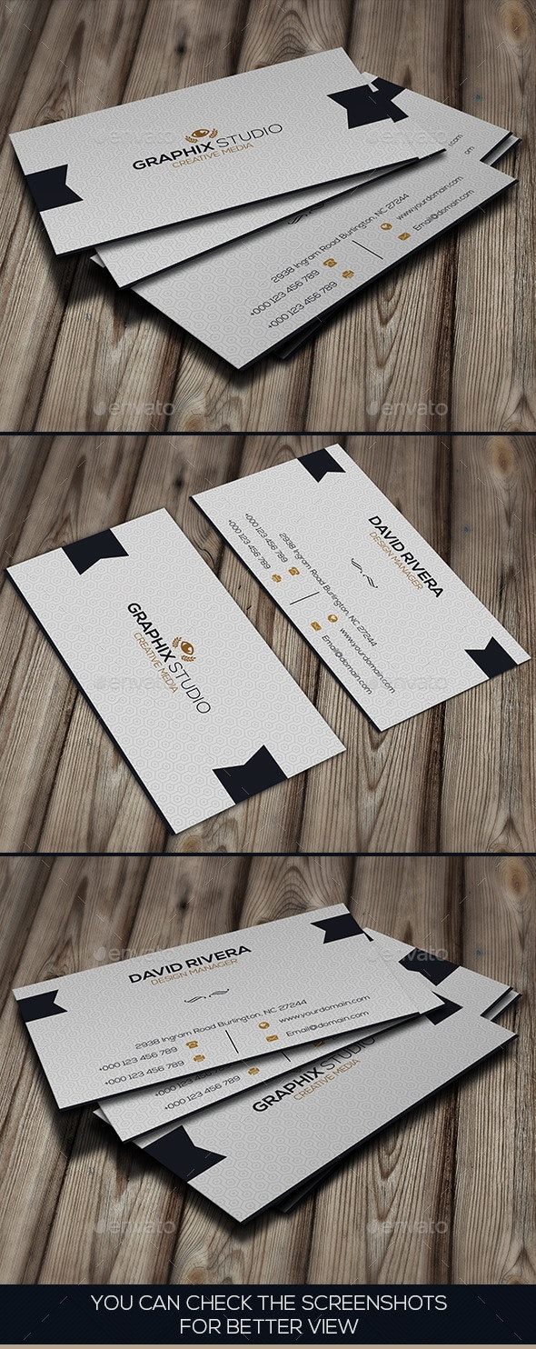 Navy White Business Card - Business Cards Print Templates