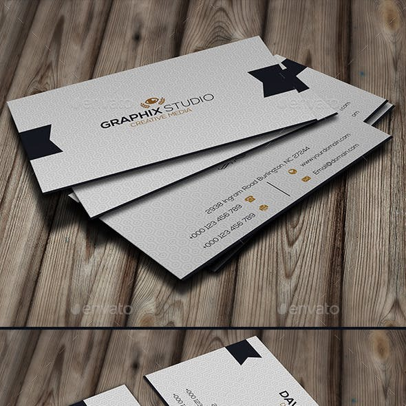Navy White Business Card