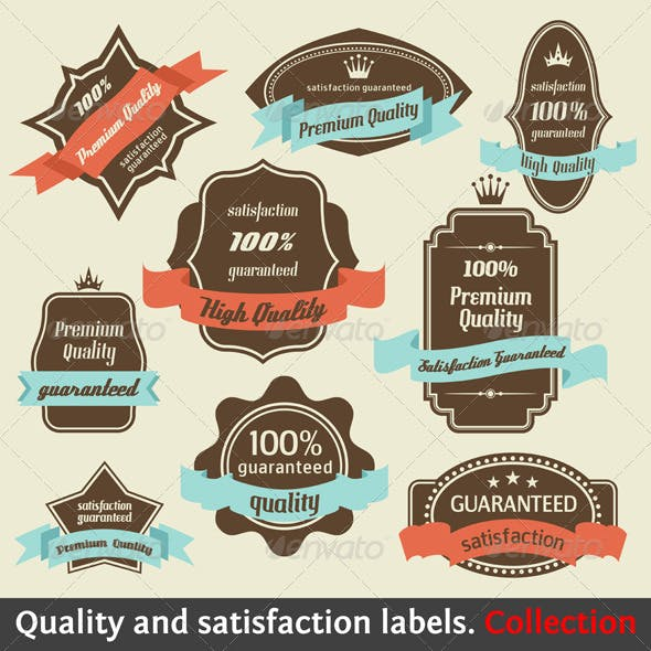 Vintage Premium Quality and Satisfaction Labels