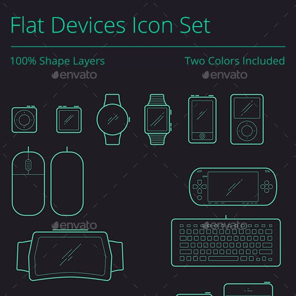 Outline Flat Devices Icon Set