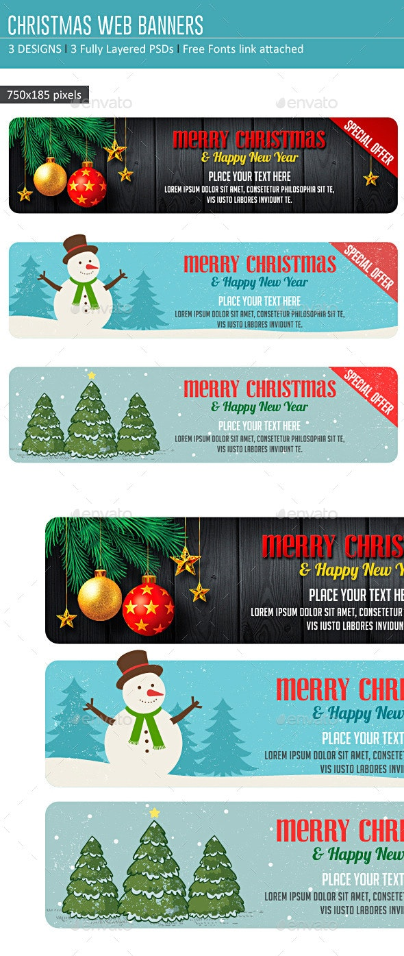 Christmas Web Banners - Banners & Ads Web Elements
