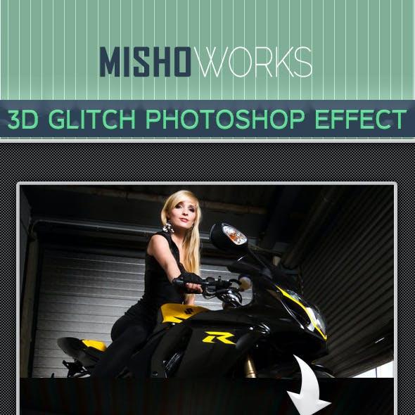 3D Glitch Photoshop Effect