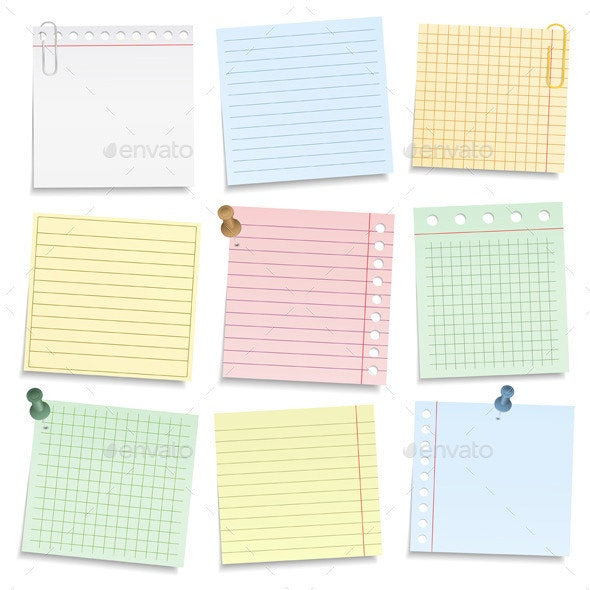 Colored Notebook Paper - Objects Vectors