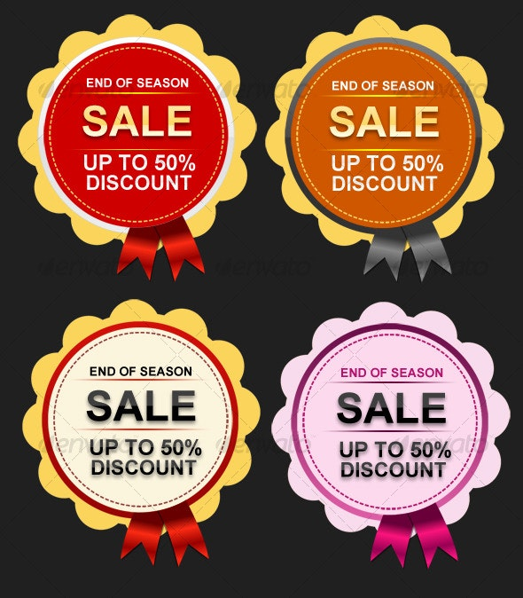 High Resolution Sale Badges with Ribbon- 4 Colors - Web Elements