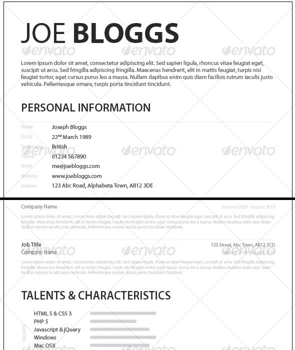 Monochromatic Simple Clean Elegant Resume CV