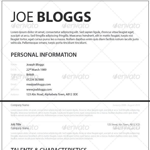 Monochromatic Simple Clean Elegant Resume / CV