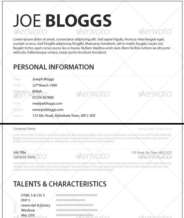 Monochromatic Simple Clean Elegant Resume / CV - Resumes Stationery