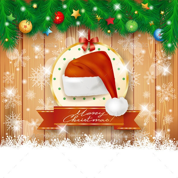 Christmas Background with Fir, Hat and Copy Space - Christmas Seasons/Holidays