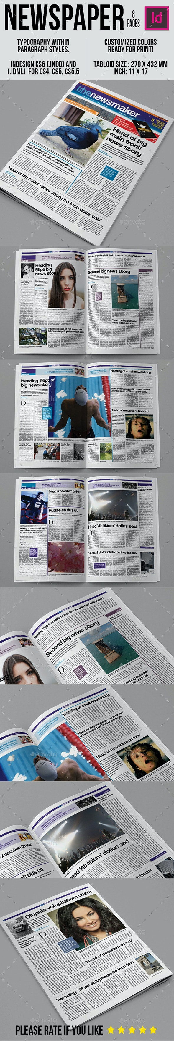 Tabloid Newspaper Template - Newsletters Print Templates