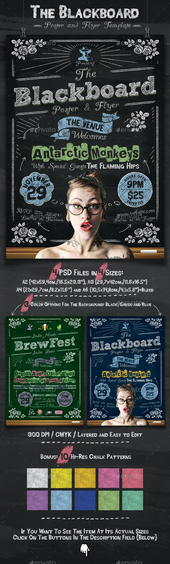 The Blackboard Poster and Flyer Template - Events Flyers