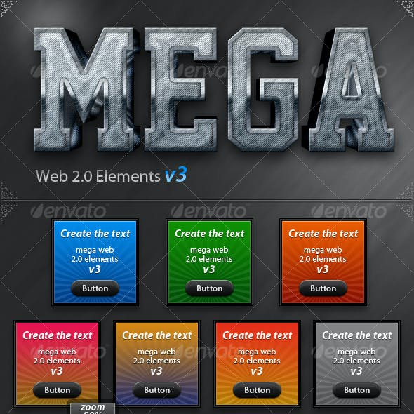 Big Web 2.0 Elements v3 Banners, Sliders, buttons