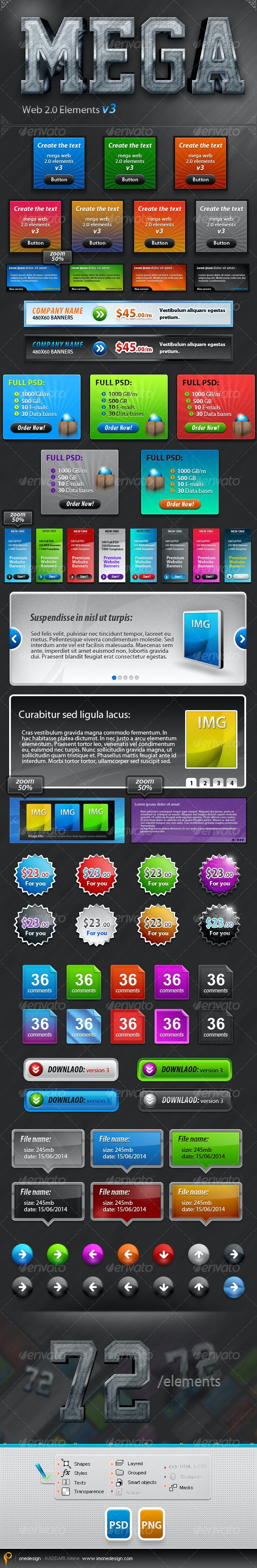 Big Web 2.0 Elements v3 Banners, Sliders, buttons - Miscellaneous Web Elements