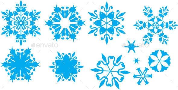 Xmas Snowflakes Russian Gzhel Style - Christmas Seasons/Holidays