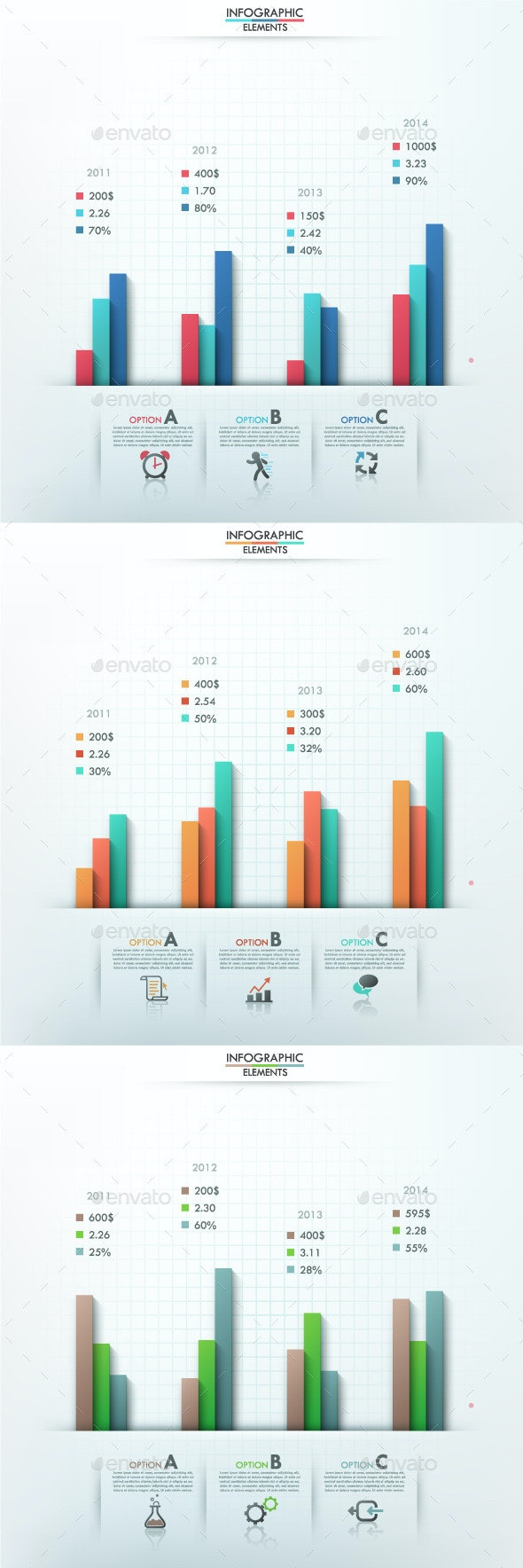 Smart Infographic Options Template (3 Items) - Infographics
