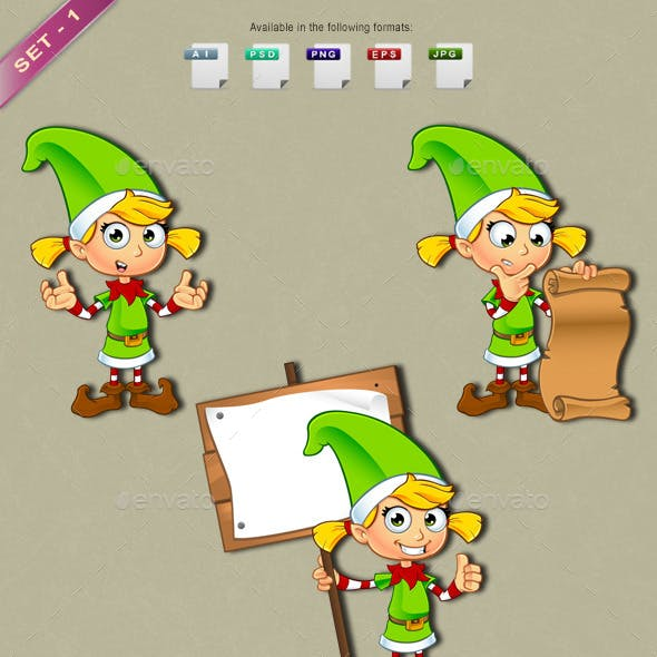 Girl Elf Character In Green – Set 1