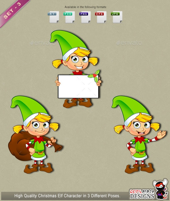 Girl Elf Character In Green – Set 3 - People Characters