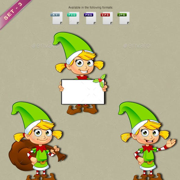 Girl Elf Character In Green – Set 3