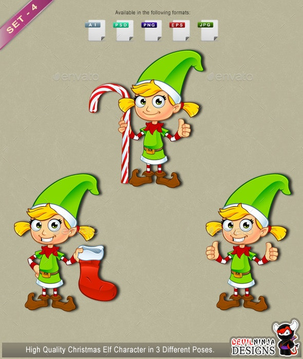 Girl Elf Character In Green – Set 4 - People Characters